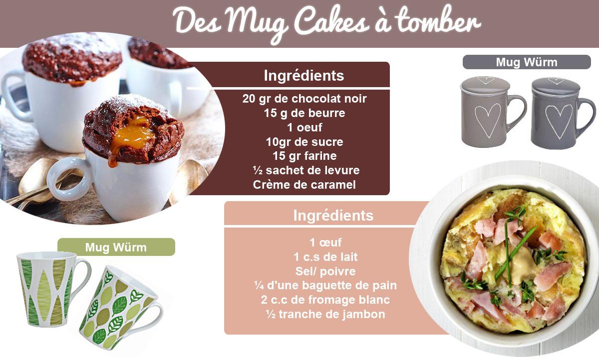 Des recettes de mug cakes salées et sucrées