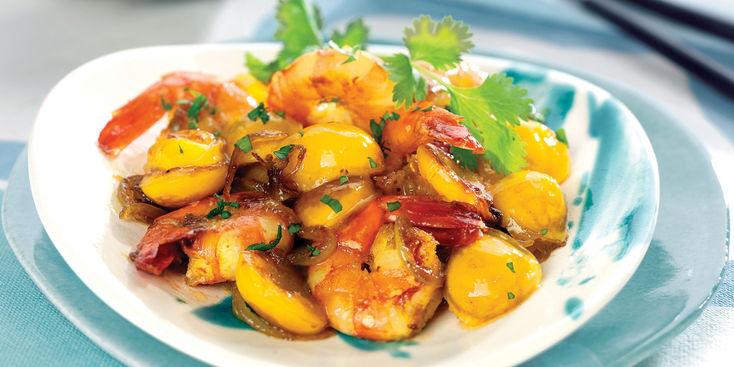 curry de crevettes aux mirabelles